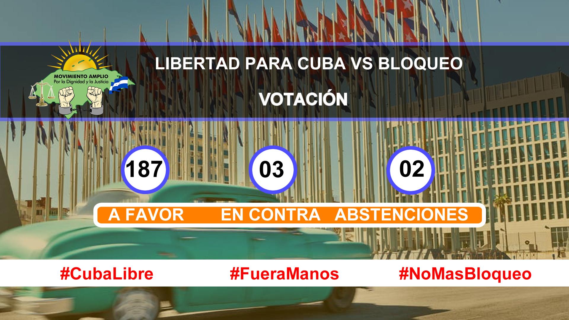Asamblea general de la ONU acuerda levantar bloqueo a Cuba